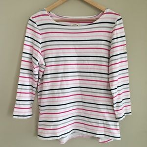 Joules Striped Boat Neck 3/4 Sleeve Top Size 10
